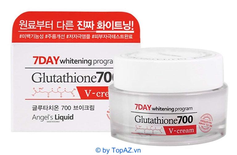 Kem dưỡng 7 Day Whitening Program Glutathione 700 V-Cream thích hợp với người có làn da đen sạm, nhiều khuyết điểm