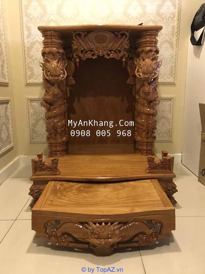 Bàn thờ ông địa đẹp rồng chúa tại TPHCM gỗ gõ đỏ